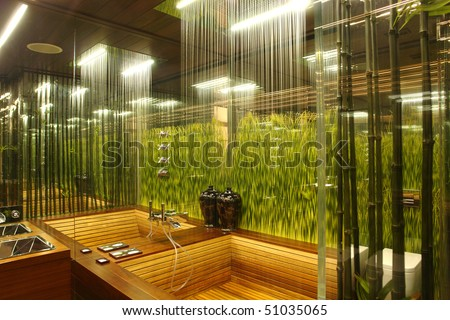 interior of a bathroom with the grass - stock photo