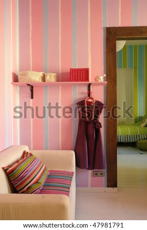 interior of a living room in pink color - stock photo