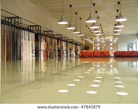 interior of a shop in perspective with reflection - stock photo