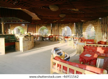 interior of arabic sheesha house in orient country