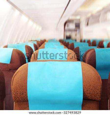 interior of the plane - stock photo