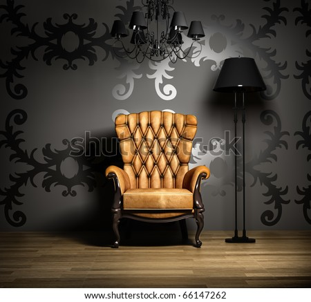 interior scene with classic armchair and lamp. - stock photo