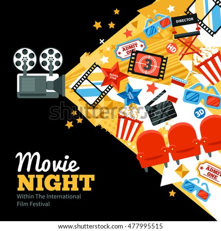 International cinema festival poster with tickets stars and shooting symbols flat  illustration