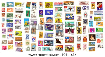 98 international stamps from all over the world - stock photo
