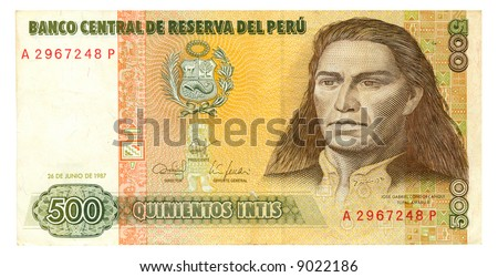 500 inti bill of Peru, fallow background, biscuit and green pattern