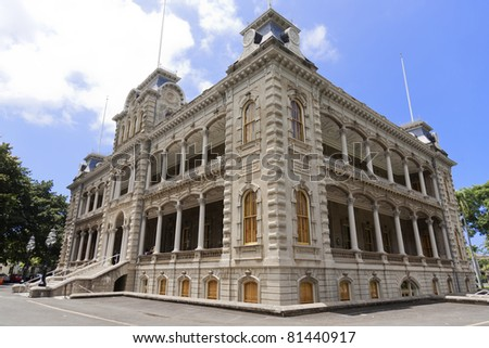 ?Iolani Palace in Honolulu, Hawaii, the only royal palace in the United States. Built by King Kalakaua in 1882. Home of the last two monarchs of Hawaii. - stock photo