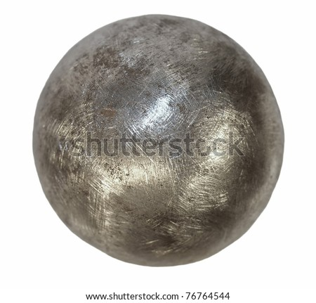 Iron metal ball isolated on white background