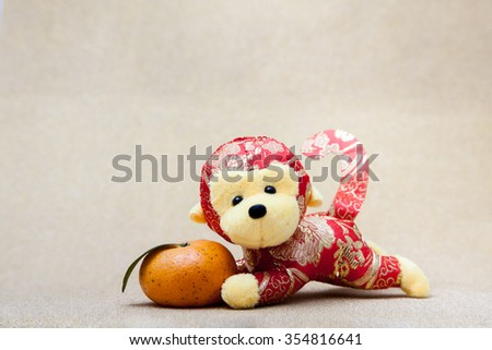 2016 is year of the monkey decorate with mandarin orange for chinese new year