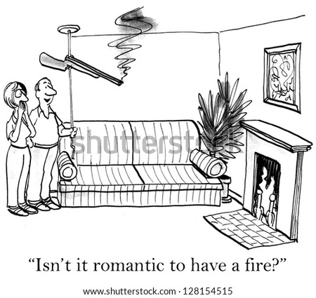 """Isn't it romantic to have a fire?"" - stock photo"