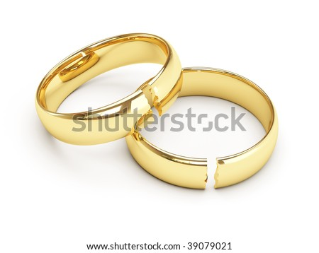 isolated broken gold wedding rings - stock photo