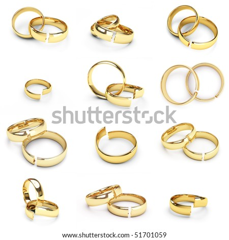 12 isolated broken gold wedding rings - stock photo
