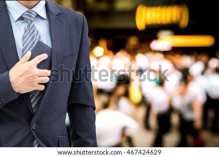 isolated business man hold the smartphone meet at bar on happy hour