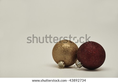 2 isolated christmas ornaments - stock photo