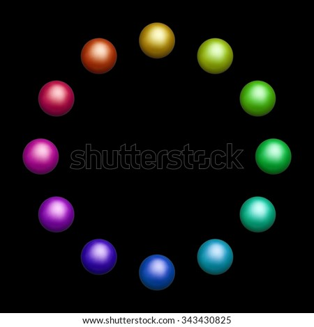 12 isolated colored balls, arranged in a circle against black background.