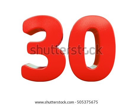 Isolated 3d Number Thirty, 30 Greeting Card, 3d Number, The Volume Figure 30 Years. 30 Years Anniversary Red Logo, Template Logo 30th Anniversary, Isolated Number Thirty on White Background