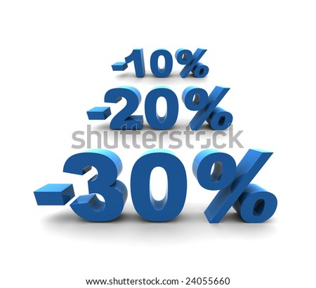 30-20-10% - isolated 3D render illustration - stock photo