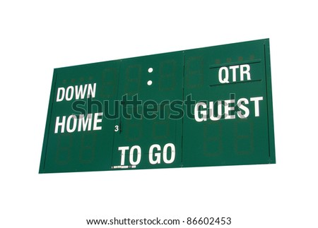 isolated football scoreboard sign on white background
