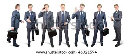 Isolated full length studio shot of businessman - stock photo