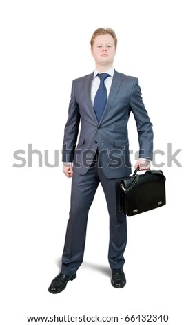 Isolated full length studio shot of businessman holding brief case , isolated over white with clipping path