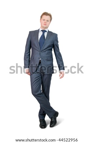 Isolated full length studio shot of businessman, isolated over white with clipping path
