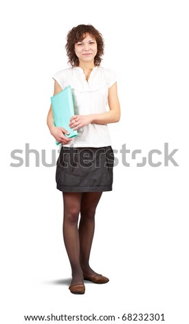 Isolated full length studio shot of businesswoman - stock photo