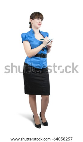 Isolated full length studio shot of businesswoman  writing on her notepad