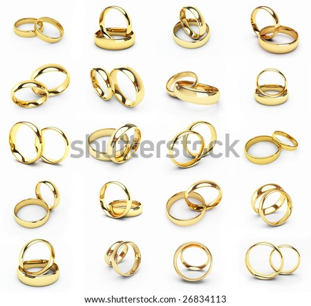 20 isolated gold wedding rings - stock photo