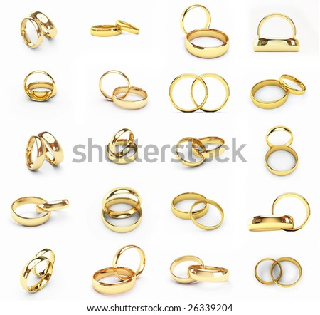20 isolated gold wedding rings(icon hi res see my portfolio) - stock photo