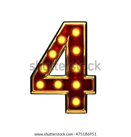 4 isolated golden letter with lights on white. 3d illustration