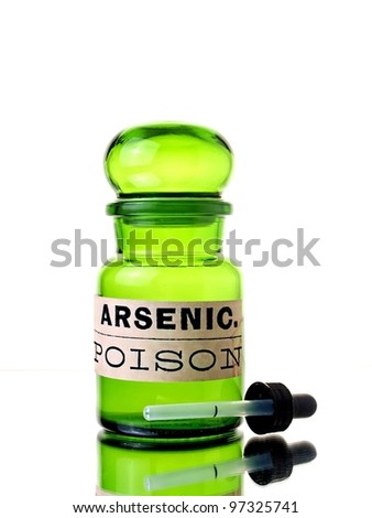 Isolated green bottle with arsenic label. - stock photo