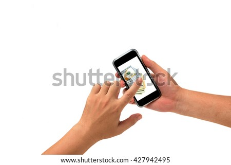 isolated hand holding Smartphone for Paid online services website