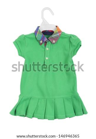 isolated hanging  kid dress on white - stock photo