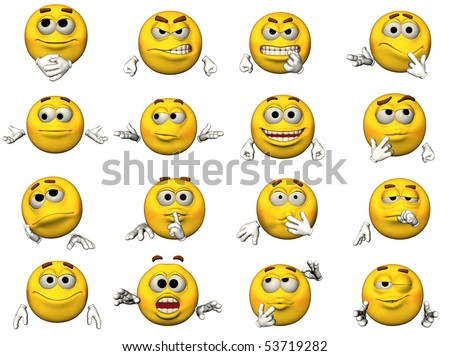 16 isolated illustrations of emoticons - stock photo