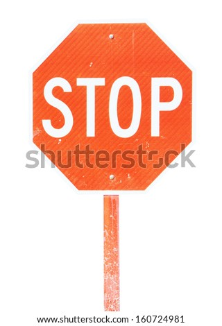 Isolated image of stop sign with reflect surface