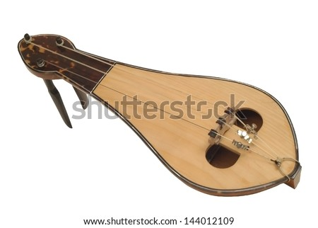 isolated old style traditional musical instrument on white