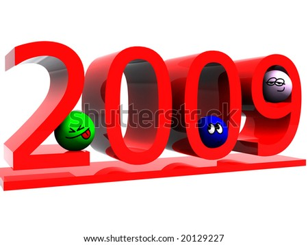2009. Isolated on white background. 3d render. - stock photo