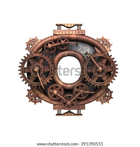 0 isolated rusted letter with gears on white