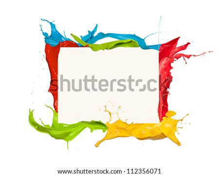 Isolated shot of colored paint frame splash on white background - stock photo
