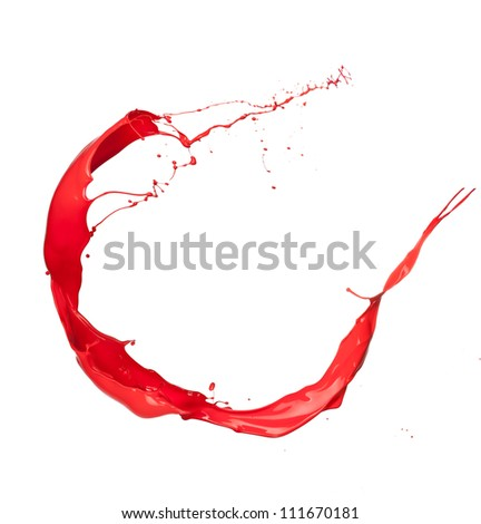 Isolated shot of red paint splash on white background - stock photo