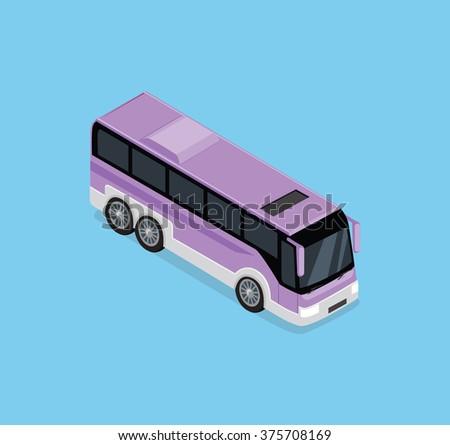 isometric bus. Public transportation. Isometric bus icon. Isolated isometric bus. Detailed illustration of Isometric Bus in front top view. 3D isometric bus. Modern isometric tour bus. 3d bus - stock photo