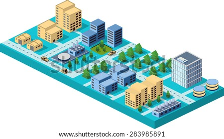 isometric city center on the map with lots of buildings, skyscrapers, factories, and parks. Picture in style flat - stock photo