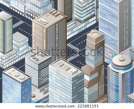 isometric illustration of a city block - stock photo