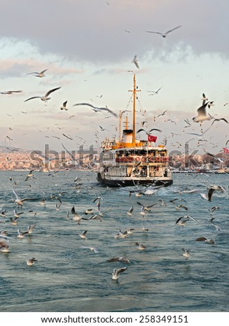 ISTANBUL, TURKEY - FEBRUARY 19, 2015: Istanbul winter a day. Istanbul ferry sailing in to Bosporus Sea in winter