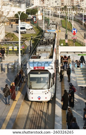 ISTANBUL, TURKEY - MARCH 13, 2015:Modern tram on Zeytinburnu District.Istanbul is a modern city with a developed infrastructure.  - stock photo