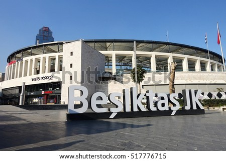 ISTANBUL, TURKEY - NOVEMBER 17, 2016: Exterior view of Vodafone Arena. The stadium is the home of Turkish football league champions Besiktas JK of Istanbul, Turkey.