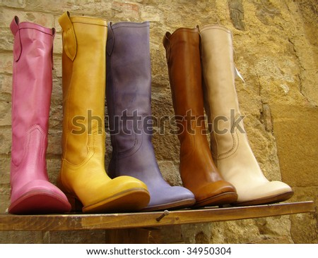 italian fine leather multicolor boots collection - stock photo