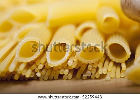 italian food, pasta, penne - stock photo
