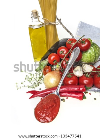 italian food with vegetable, olive oil, spaghetty and tomato ketchup - stock photo