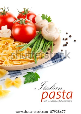 italian pasta with tomato and champignons isolated on white background