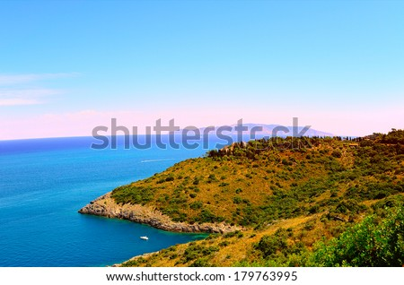 Italian Seascape with Hills and Indented Coastline - stock photo